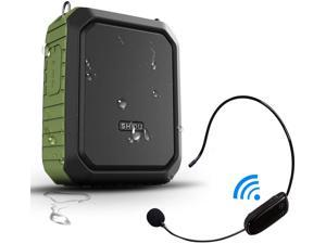 New SHIDU Portable Bluetooth Waterproof Voice Amplifier Wireless Headset Microphone Small Personal Voice Amplifier 18W 4400mAh Rechargeable Wearable Mic System for Teachers or Outdoors