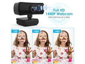 2K 2560*1440P Webcam Ultra HD Camera for Computer PC Web Cam with Mic for Live Show Video Calling Meeting 360 Rotatable Camera