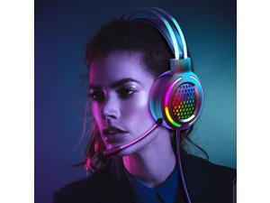 USB Gaming Headset 7.1 Stereo Channel Over Ear Headphones E-Sports Earphone with Microphone Adjustable