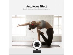 1080P HD Webcam with Ring Light Mini Autofocus Webcam Built in Microphone Webcam for Video/Live