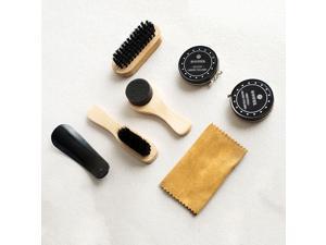 8PCS Shoe Shine Care Kit Black & Transparent Polish Brush Set
