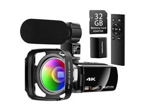 Ultra HD 4K Camcorder Video Camera with Rechargeable Microphone 24G Remote Control Vlogging YouTube Camera 60FPS 48MP IR Night Vision with Wide Angle Lens Lens Hood Batteries