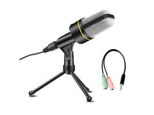 Condenser Microphone Professional Recording Mic with Tripod Stand for Broadcasting Chatting Interview Video Conference YouTube Recording Your PC Laptop and Phones