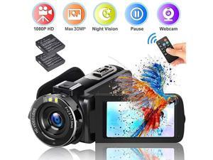 Video Camera Camcorder  2020 Upgraded FHD 1080P 30MP Vlogging Camera For YouTube 18X Digital Zoom 30 LCD 270 Degree Flip Screen With 2 Batteries