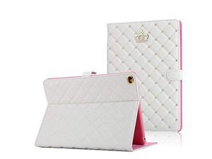 Crown Design Case for iPad 9.7 2018 2017/ iPad Air 2 / iPad Air, Diamond Cute Elegant PU Leather Smart Auto Sleep/Wake Stand Shockproof Case for Apple iPad 9.7 iPad 5th/6th/iPad Air (White