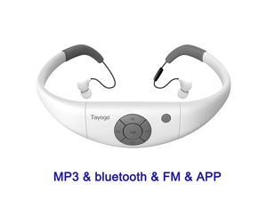 8GB Waterproof MP3 Player Bluetooth Swimming Waterproof Headset Underwater 10FT with Shuffle Feature Support FM APP Flash Drive White