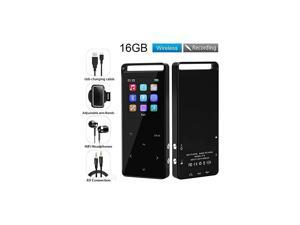S16 MP3 Player, 16 GB MP3 Player with Bluetooth 4.2,Support up to 128GB Voice Recorder Touch Button with Screen HiFi Lossless Sound Music Player with FM Radio