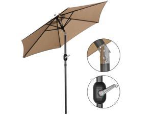 7.5Ft Umbrella Po Market Powered Table 6 Ribs Tan with Tilt and Crank
