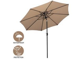 9' Po Umbrella Outdoor Table Umbrella with 8 Sturdy Ribs Garden Lawn Backyard