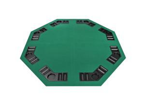 """Four Fold 8 Player 48"""" Poker Table Top Velvet W/Bag Portable Green Party Game"""