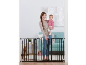 """Metal Baby Safety Gate Extra Wide 58"""" Walk Through Easy Slide 30 Inch Tall Black"""