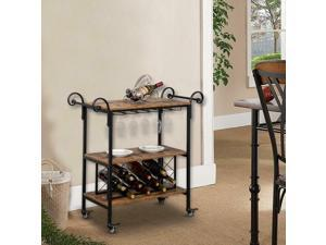 3-Tier Bar Wine Whiskey Party Serving Cart Table On Wheels Kitchen Baker's Rack