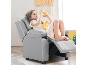 Kids Sofa Deluxe Padded Armchair Recliner Headrest w/ Storage Arms