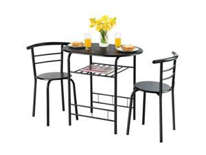 Costway 3 Pcs Dining Set 2 Chairs and Table Compact Bistro Pub Breakfast Home Kitchen Black