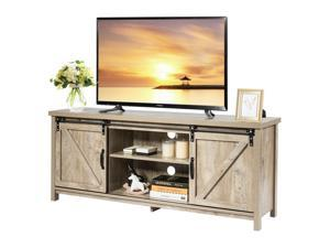 Costway TV Stand Media Center Console Cabinet Sliding Barn Door for TV's 60'' White Oak