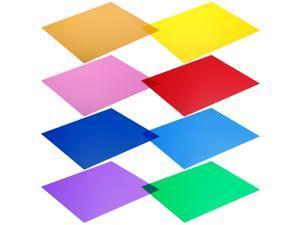 Neewer 12x12 inches Transparent Color Correction Lighting Gel Filter Set of 8 Sheet for Photo Studio Strobe Flash Light LED Lights (Red, Yellow, Orange, Green, Purple, Pink, Light Blue, Dark Blue)