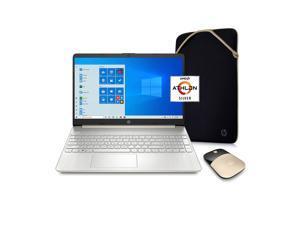 "Hp 15Z Laptop, 15.6"" Hd Screen, Amd Athlon 3050U Processor, 8Gb Ram, 256Gb Ssd, Webcam, Wireless-Ac, Type-C, Hdmi, Windows 10 Home, Wireless Mouse, Sleeve, Gold"