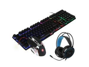 Mice Keyboards Headphones Combo 104-Key Backlit Mechanical Waterproof Wired Keyboard G5 800DPI Wired Mice 7.1 Stereo Sound 3.5MM USB E-Sports Headset with Mic RGB Luminous Gaming Set-4 gaten
