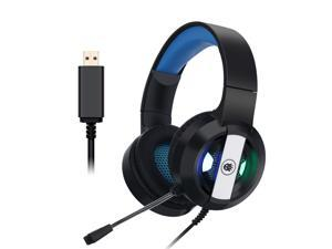 S300 Professional Gaming Headset with  7.1 USB Channel Surround Sound Microphone Game Headphones with Deep Bass for Computer PC Gamer-Black blue