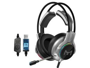 Heir Audio X10 Gaming Headset 7.1 Channel USB / Dual 3.5mm Wired LED Gaming Headset Bass Stereo Sound Headphone Earphones with Mic for PS4 Computer PC Gamer-USB Interface