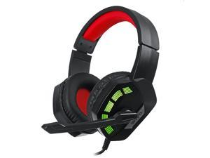 M1 Gaming Headset Surround Sound Music Earphones USB 7.1 & 3.5mm Wired RGB Backlight Game Headphones with Mic-Red/USB