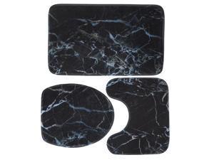 Marble Toilet Three-piece Floor Mat Door Mat Bathroom Carpet - C007
