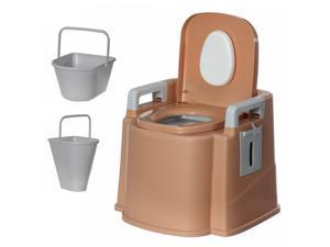 Portable Travel Toilet Compact Potty Bucket Seats Waste Tank Lightweight Outdoor Indoor Toilet for Camping Hiking Campsite-Khaki