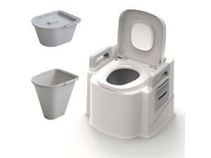 Portable Travel Toilet Compact Potty Bucket Seats Waste Tank Lightweight Outdoor Indoor Toilet for Camping Hiking Campsite-Grey
