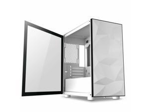 Mini-ITX/MicroATX Tower   DLM21 Gaming PC Case Glass Swing Door Open