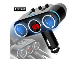 Cigarette Lighter Socket Splitter Dual USB Charger Power Adapter w/LED Voltmeter