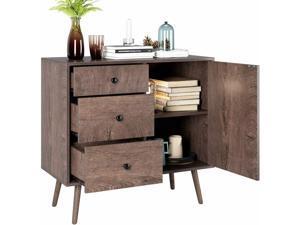 Vintage Wide Dresser Cupboard w/ 3 Drawers  Door Storage Shelves Floor Cabinet