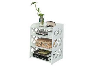 Wood Plastic 4 Tier Lattice Composite Bookcase Rack Shelf Storage Organizer