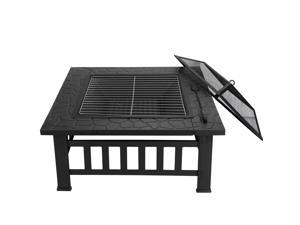 """32"""" Po Garden Backyard Stove Firepit Brazier Square Metal Fire Pit Outdoor"""