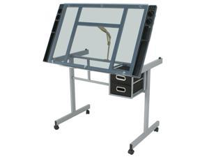 Home Drawing Desk Ston Tempered Glass Adjustable Drafting Table W/ 4 Wheels