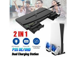 2 in 1 Vertical Stand Controller Charging Dock+2 USB Port For PS5 DE/UHD Console