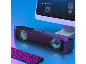 RGB LED USB Desktop Soundbar Stereo Sound Computer Speaker for Mac Laptop Tablet