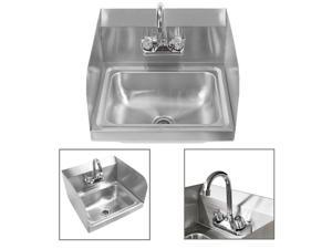 """17"""" Commercial Kitchen Stainless Steel Wall Mount Hand Sink w/ Side Splashes New"""