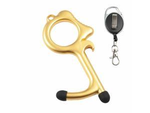 Door Opener, Touchless Clean Key with Retractable Keychain Gold