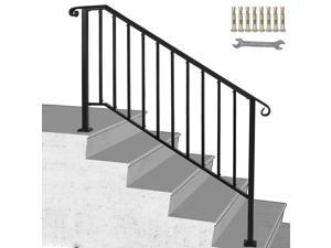 Iron Handrail Picket Fits 4 Steps Stair Railing Hand Rail for Outdoor Paver Step