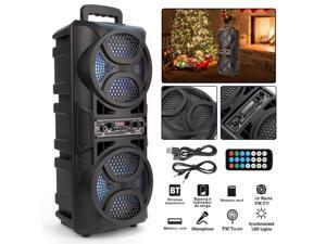 Double 6.5 Portable Wireless Bluetooth Speaker Outdoor Subwoofer Sound Box FM Radio USB /AUX/BT/TF/LED