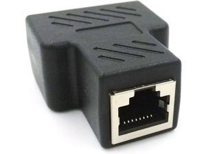 Poyiccot Ethernet Splitter 1 to 2 Adapter, RJ45 Splitter Network Adapter 1 Female to 2 Port Female CAT 5/CAT 6 LAN Splitter Ethernet Socket Connector 8P8C Extender with PCB Board Inside