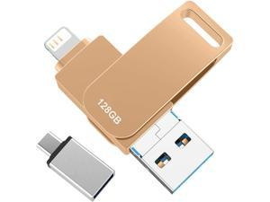 128GB Gold USB Flash Drive Photo Stick for iPhone Flash Drive for iPhone PhotoStick Mobile for iPhone USB Flash DriveOTG Smart Phone Memory Stick Storage