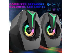 RGB LED Computer Speakers Bass Stereo Surround Sound for Tablet Laptop Cellphone