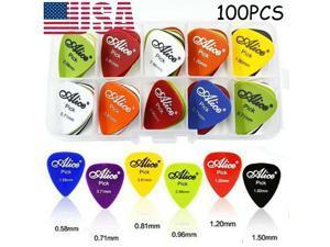 100 Guitar Picks Acoustic Electric Plectrums Celluloid 0.58 0.71 0.81 0.96 1.2