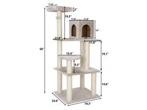 """56"""" Cat Tree Condo Pet Play House Furniture Activity Tower with Perches Beige"""