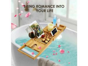 Bamboo Bathtub Caddy Shower Rack Tray Organizer Tablet Holder Extending Sides