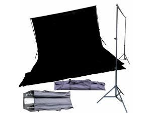 10' Snap Together Support Stand w/20'x10' Muslin Backdrop Black Photo Background