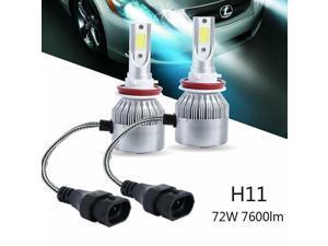LED Headlight Kit H8 H9 H11 72W 7600LM 6000K Low Beam Fog Bulb HID White