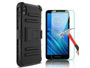 For  Moto E6 Case With Stand Holster Belt Clip Cover / Screen Protector