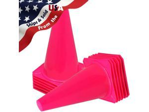 """9"""" Tall PINK CONES Sports Training Safety Cone Qty 12"""